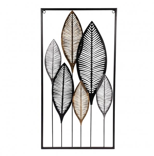 Moderne Metall-Wanddekoration Blätter zum Hängen 75 x 38 cm Wandbild Metallbild