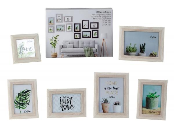 Bilderrahmen SET 6-teilig Fotorahmen aus Holz weiß