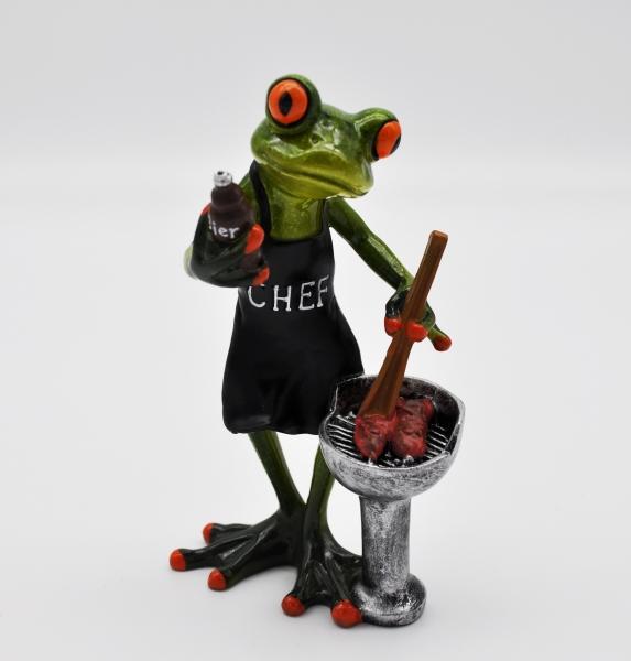 Frosch mit Grill und Bier oder Bratwurst 16 cm hellgrün Dekofigur Froschfigur Zierfigur