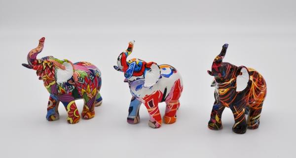Moderner Elefant 13 cm mehrfarbig Deko Afrika Tierwelt Dekoskulptur Figur