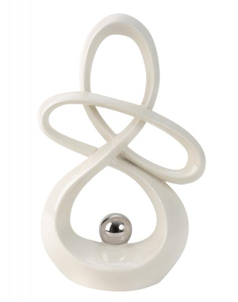Elegante Skulptur mit Kugel in weiß Höhe 30 cm